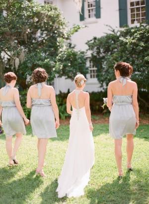Short Halter Style Gray Blue Bridesmaids Dresses