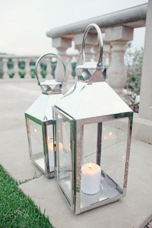 Silver Lanterns With Candles