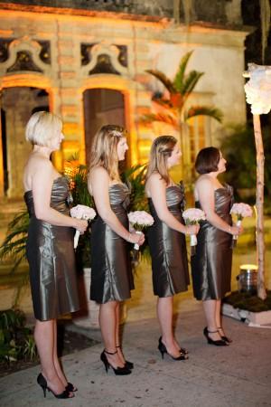 Strapless Metallic Gray Bridesmaids Dresses