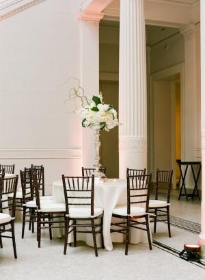 Tall White Reception Arrangement in Silver Vase