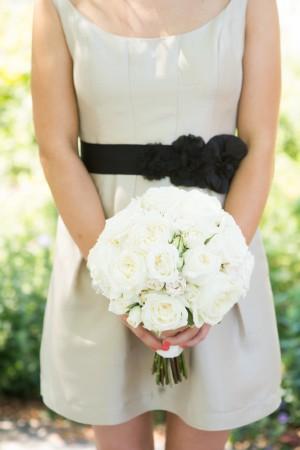 Taupe Bridesmaids Dress With Black Sash