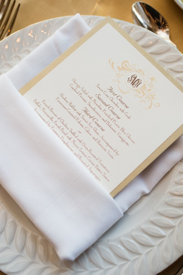 Taupe and Gold Reception Menu Card