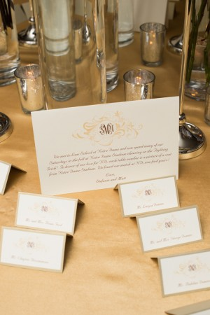 Taupe and Gold Reception Place Cards