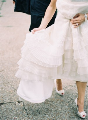 Tiered Accordion Pleat Skirt on Wedding Gown