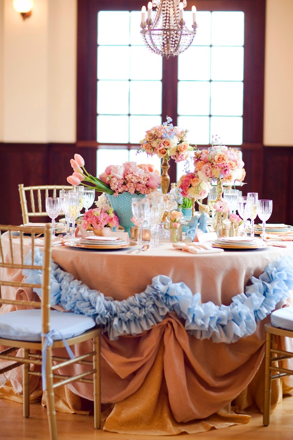 Turquoise Pink and Gold Reception Table Decor 1