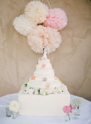 Pink and White Wedding Cake Table