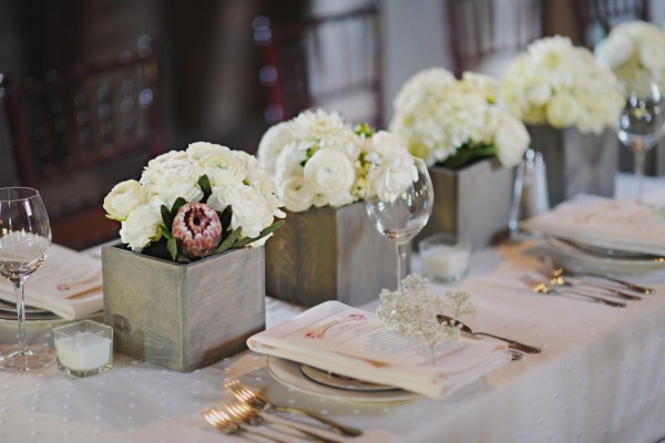 White Flower Arrangements in Square Slate Vases
