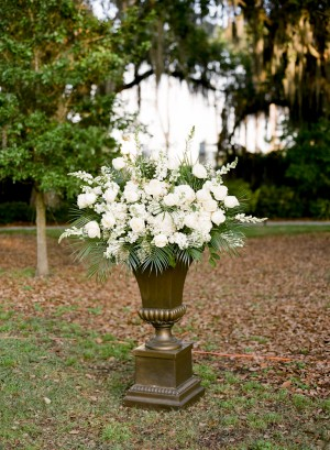 White Flower and Fern Arrangement in Bronze Urn