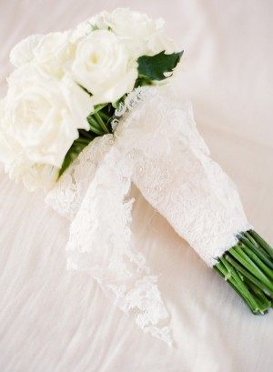 White Rose Bridal Bouquet With Lace Wrap