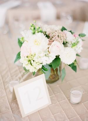 White and Greeen Wedding Centerpiece