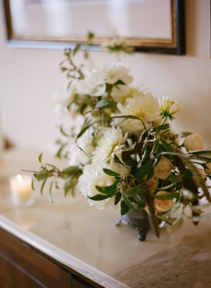 White and Green Flower Arrangement on Marble Credenza