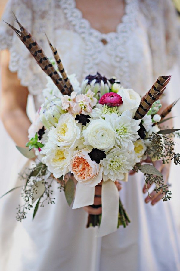 White and Pink Bridal Bouquet With Feathers
