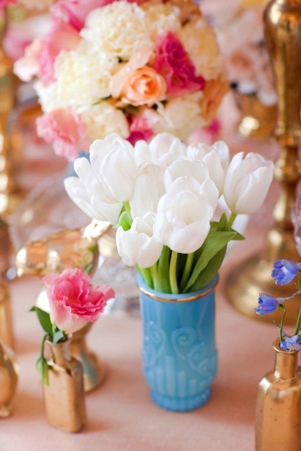 White And Pink Flowers In Turquoise And Gold Vases Elizabeth Anne