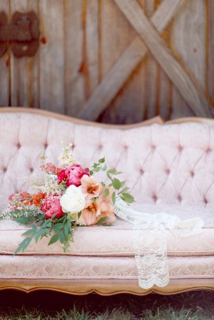 Wildflower Bouquet With Lace Wrap on Vintage Pink Sofa