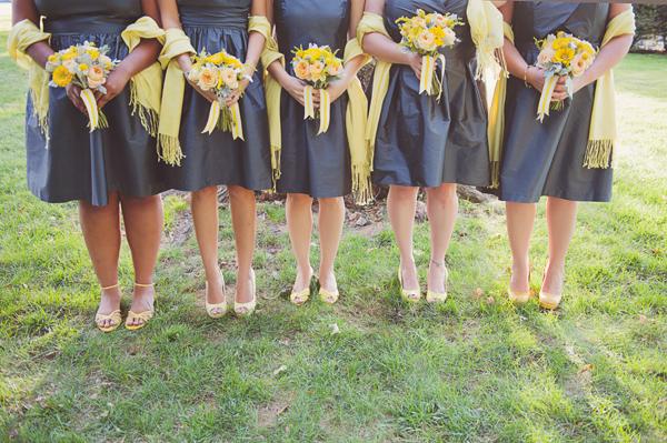 Yellow Nosegay Bridesmaids Bouquets