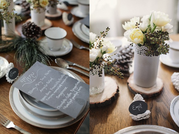 winter tablescape pinecone and menu