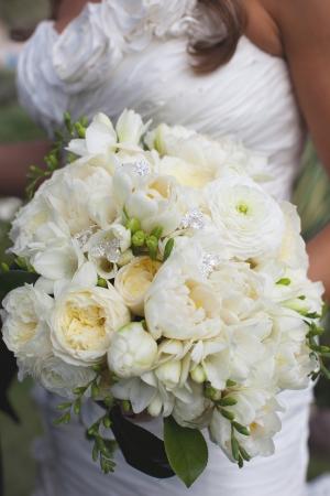 White Freesia Ranunculus Rose Wedding Bouquet