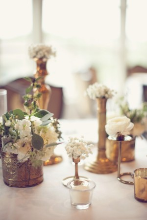 Antique Brass Vases and White Flowers Reception Decor Ideas 1