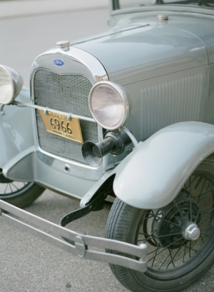 Antique Silver Blue Getaway Car