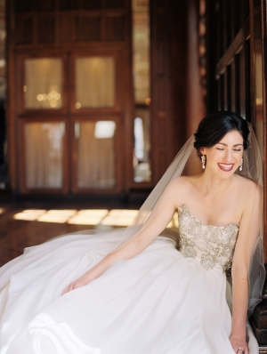 Elegant Ulla Maija Strapless Beaded Gown