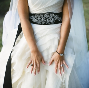 Wedding Gown With Black Sash
