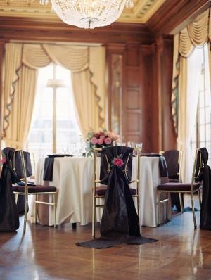 Black Silk Chair Swag Reception Decor Ideas