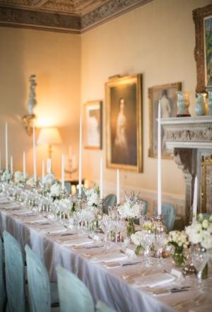 Blue Gray Cream and Lace Reception Dinner Decor