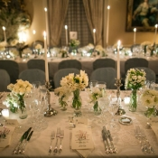 Blue Gray Cream and Lace Reception Dinner Decor