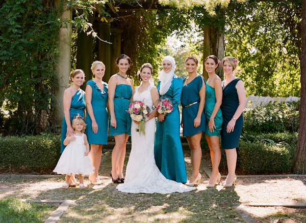 Bridesmaids Dresses in Shades of Blue