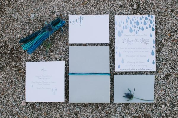 Blue and White Raindrop Theme Wedding Stationery