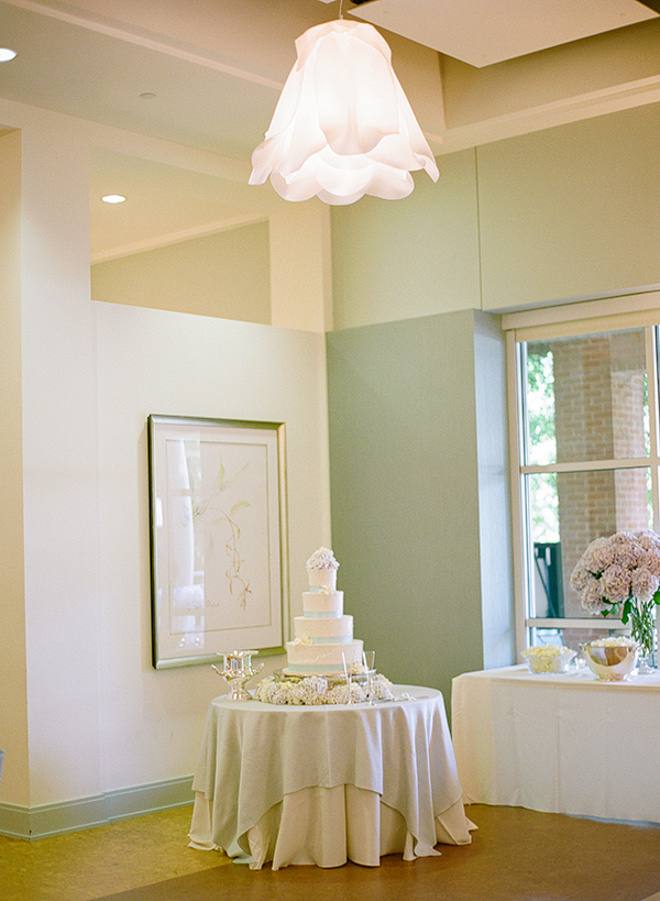 Blue and White Reception Cake Table