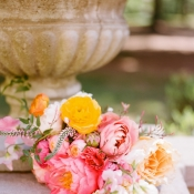 Blush Saffron and Coral Wedding Flowers