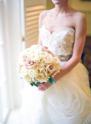 Blush Yellow and Cream Rose Bouquet