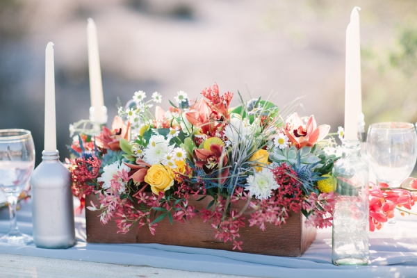 Bright Wildflower Arrangement in Wooden Box