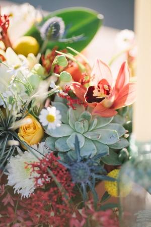 Bright Wildflower and Succulent Centerpiece