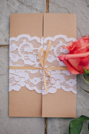Brown Wedding Invitation With Lace Wrap