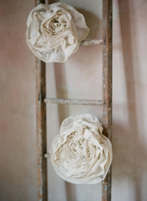 Burlap and Lace Roses on Rustic Ladder