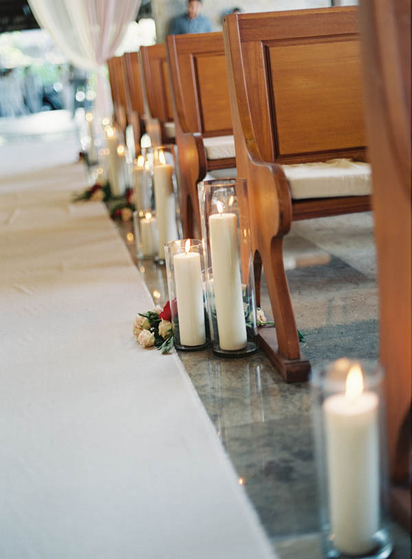Candle and Floral Aisle Decor Bali Wedding