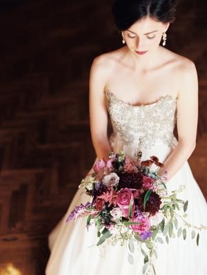 Cascading Jewel Tone Bridal Bouquet