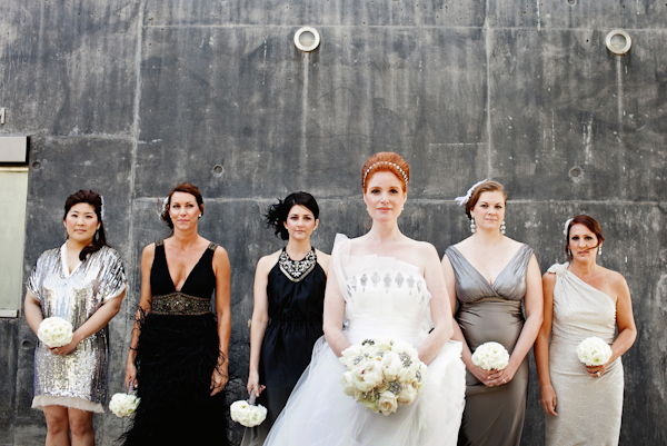 Mismatched Gray and Black Bridesmaids Dresses