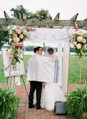 Chuppah With Pink and White Flowers