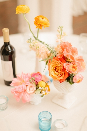 Coral and Aqua Wedding Flowers