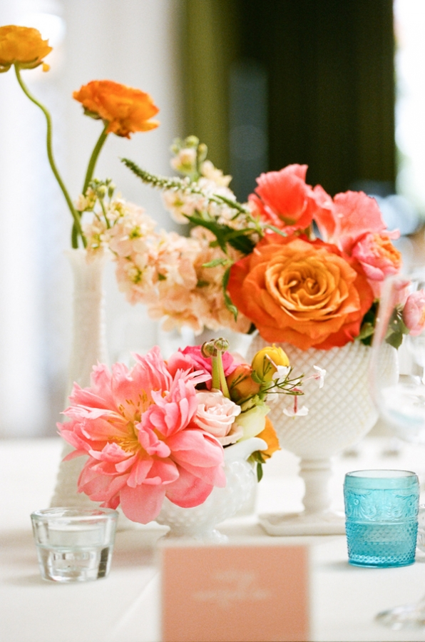 Coral and Pink Centerpiece
