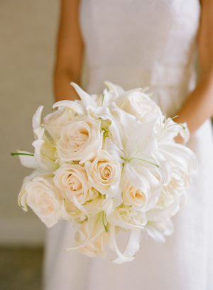 Cream Rose and Orchid Bouquet