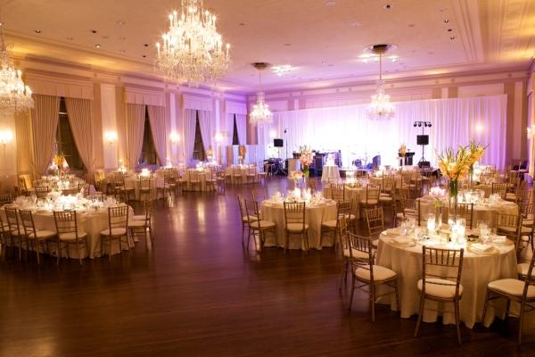 Cream and Gold Ballroom Reception Decor