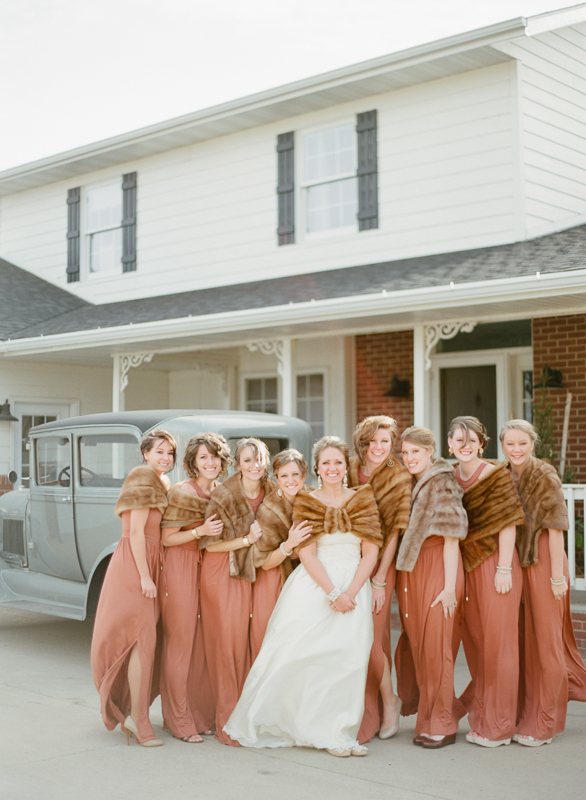 Deep Coral Bridesmaids Dresses With Fur Shrugs