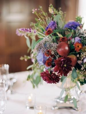 Deep Red and Purple Wedding Centerpiece
