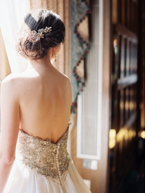 Deep V Back Wedding Gown With Jeweled Bodice