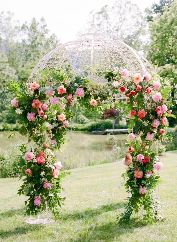 Elegant Pink Rose Garden Gazebo