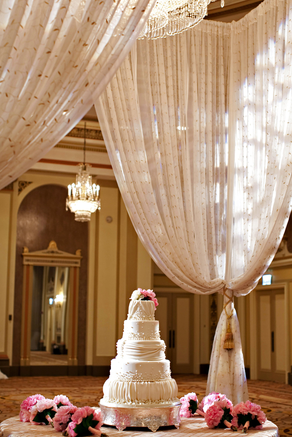Elegant Pink and White Wedding Cake